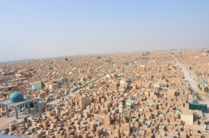 The largest cemetery in the world Wadi-us-Salaam in the holy city of Najaf, southern Iraq. About 5 million people are buried there and many aspire to be buried there...quite a sight